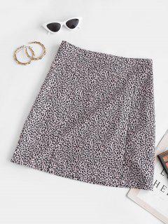 Leopard Animal Print Slit Mini Skirt - Light Pink L