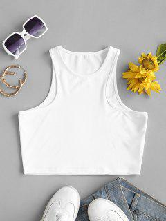 Plain Cropped Racer Tank Top - White S