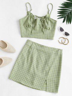 Plaid Ties Smocked Back Slit Skirt Set - Green S