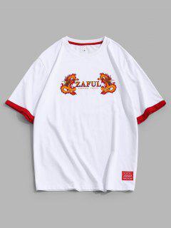 ZAFUL Dragon Print Short Sleeve Ringer T-shirt - White L