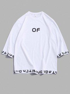 OF Letter Print Short Sleeve T-shirt - White M