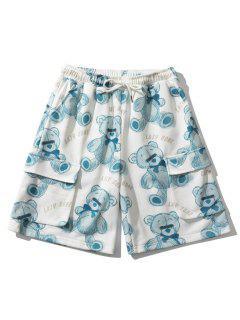 Faule Knochenbär Spielzeug Flap Taschen Shorts - Blaue Koifisch M