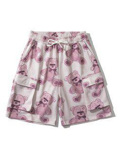 Lazy Bone Bear Toy Flap Pockets Shorts - Cherry Red M