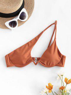 ZAFUL Cutout One Shoulder Underwire Bikini Top - Coffee M
