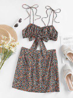 ZAFUL Ditsy Print Tie Shoulder Bowknot Slit Skirt Set - Orange S