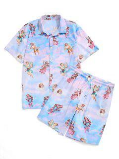 Tie Dye Floral Angel Print Shirt And Shorts Set - Light Blue M