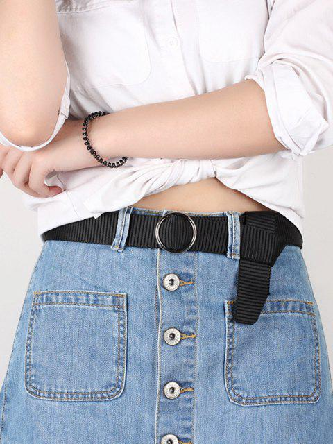 fashion Ring Buckle Canvas Woven Belt - BLACK  Mobile