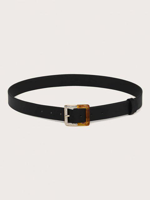 Rhinestone Square Spliced Buckle Belt - أسود  Mobile
