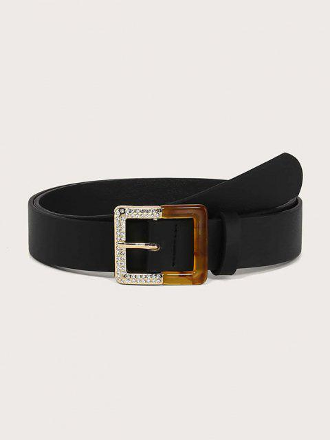 chic Rhinestone Square Spliced Buckle Belt - BLACK  Mobile