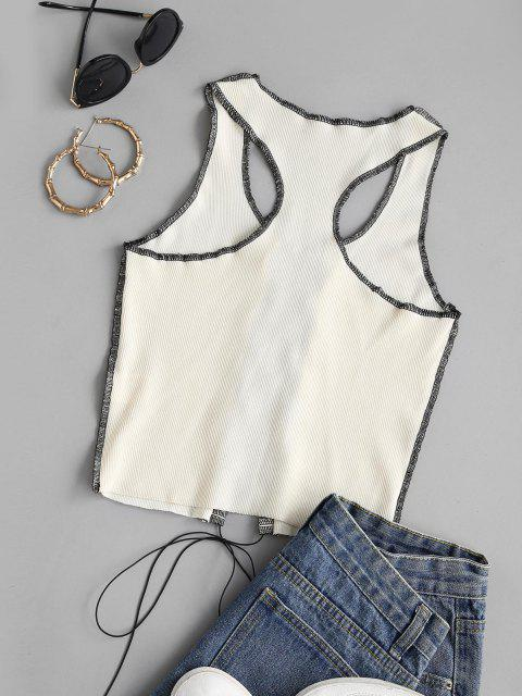 women's Rib-knit Topstitching Lace-up Racer Tank Top - LIGHT YELLOW M Mobile