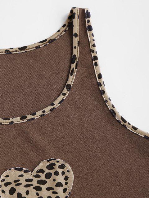 Canotta Leopardata con Bordi di Cuore - caffè M Mobile