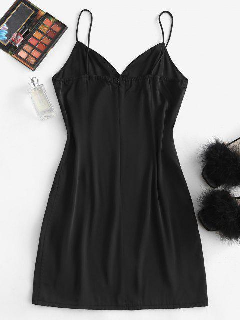 new Silky Slit Bustier Cami Slip Dress - BLACK M Mobile