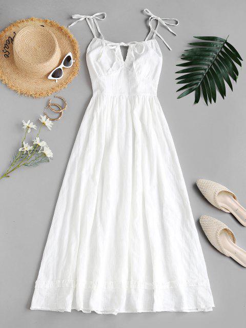 Robe Mi-Longue Plissée Nouée Au Dos à Epaule Nouée - Blanc L Mobile