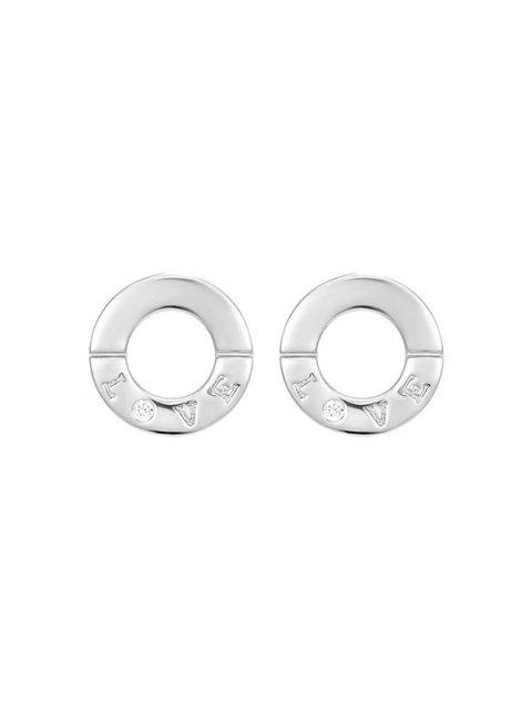 outfits Silvery LOVE Letter Carved Round Stud Earrings - SILVER  Mobile
