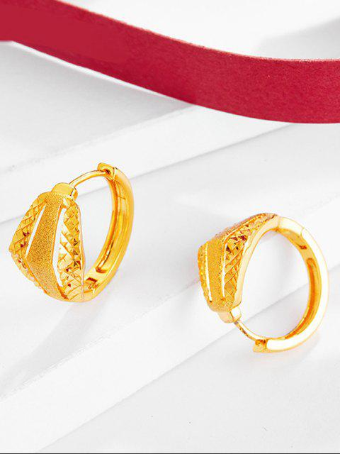 trendy Golden Textured Cut Out Small Hoop Earrings - GOLDEN  Mobile