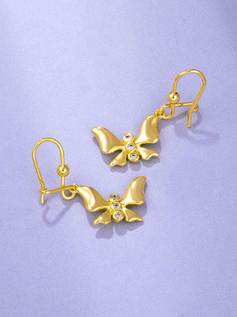 fashion Golden Butterfly Pendant Rhinestone Inlaid Hook Earrings - GOLDEN  Mobile
