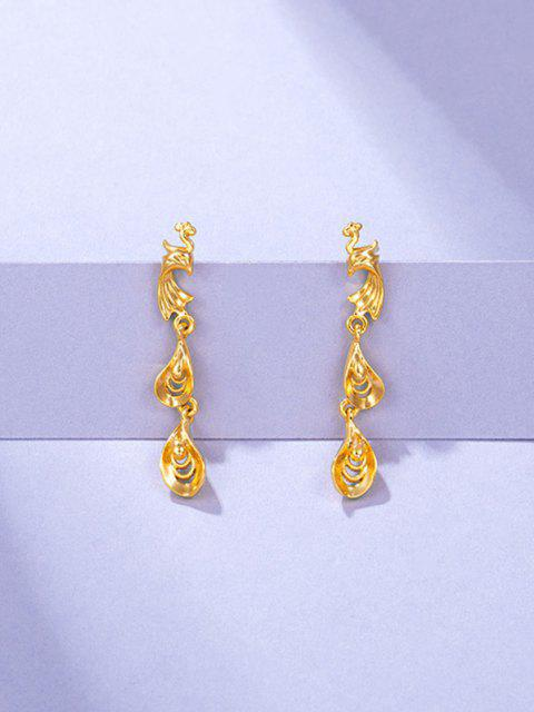 chic Golden Chinese Phoenix Cut Out Stud Earrings - GOLDEN  Mobile