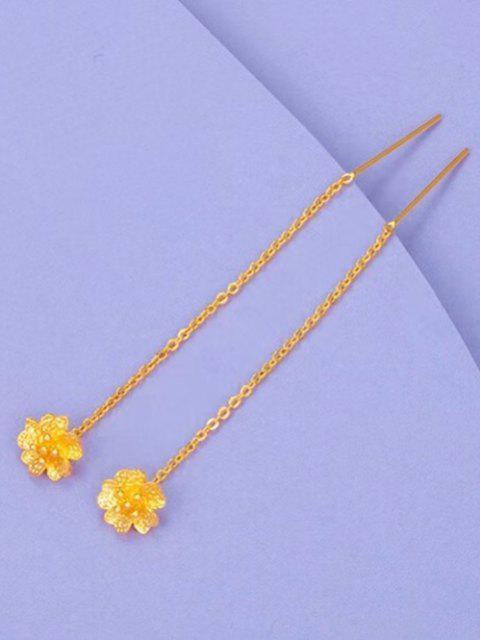 Pendientes Colgantes con Estampado de Flores - dorado  Mobile