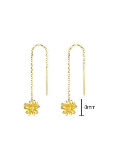 Boucles D'Oreilles Pendantes Gravées Motif Fleur Dorée Bicolore et Feuille Elliptique - d'or  Mobile