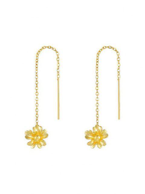 sale Golden Carved Flower Pendant Threader Linear Drop Earrings - GOLDEN  Mobile