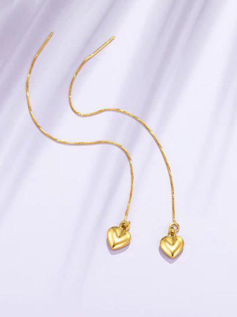 buy Golden Heart Pendant Long Linear Threader Drop Earrings - GOLDEN  Mobile
