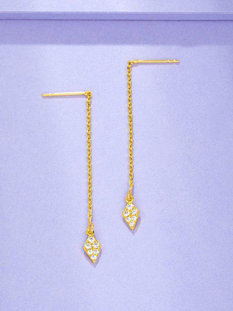 Boucles D'Oreilles Pendantes en Zircon Plaqué Losange Incrusté de Zircon - d'or  Mobile