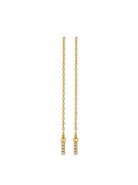 women Zircon Inlaid Gold Plated Linear Drop Earrings - GOLDEN  Mobile