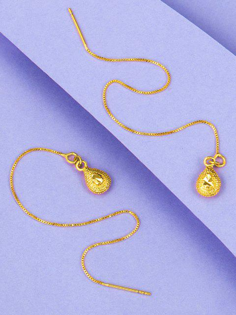 women's Linear Gold Plated Water Drop Earrings - GOLDEN  Mobile