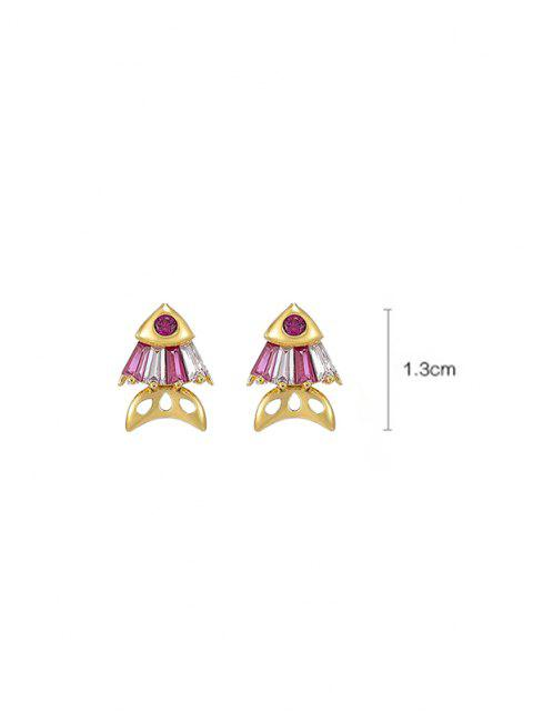 ladies Fish Rhinestone Stud Earrings - RUBY RED  Mobile