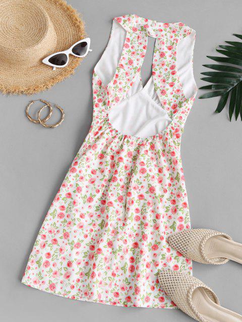 Ditsy Blumen Ausschnitt Minikleid - Multi M Mobile