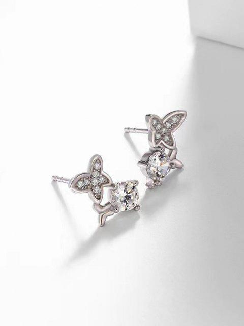 online Zircon Butterfly Stud Earrings - SILVER  Mobile