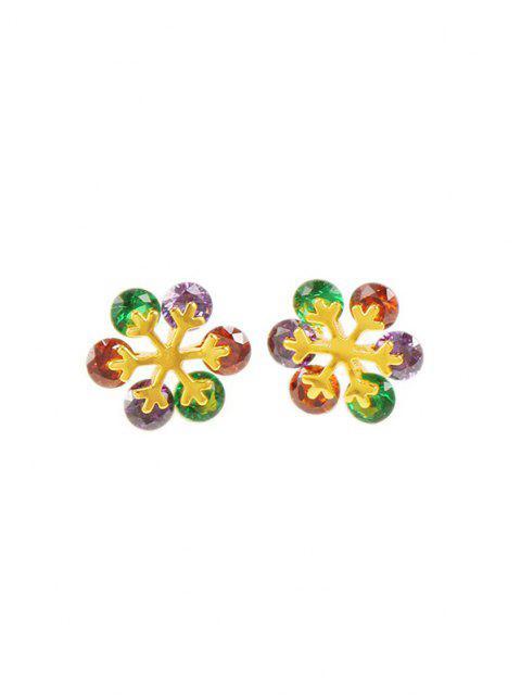 hot Floral Shape Zircon Stud Earrings - MULTI-C  Mobile