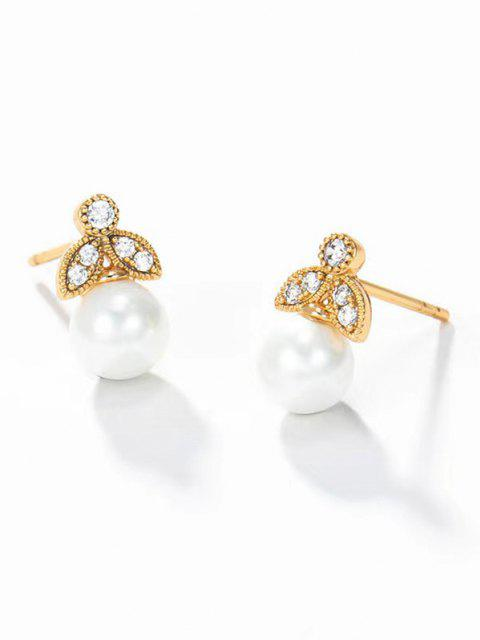 shops Faux Pearl Zircon Inlaid Plated Stud Earrings - GOLDEN  Mobile
