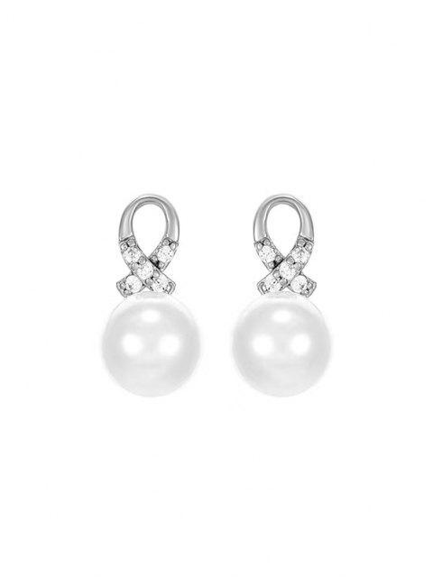 Orecchini a Croce con Diamante Artificiale e Perla Sintetica - Argento  Mobile