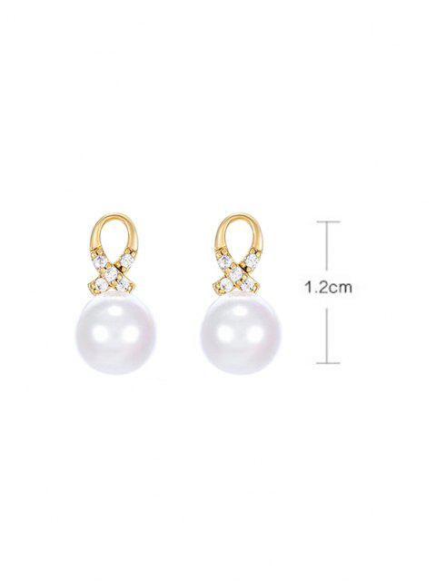 trendy Faux Pearl Criss Cross Rhinestone Stud Earrings - GOLDEN  Mobile