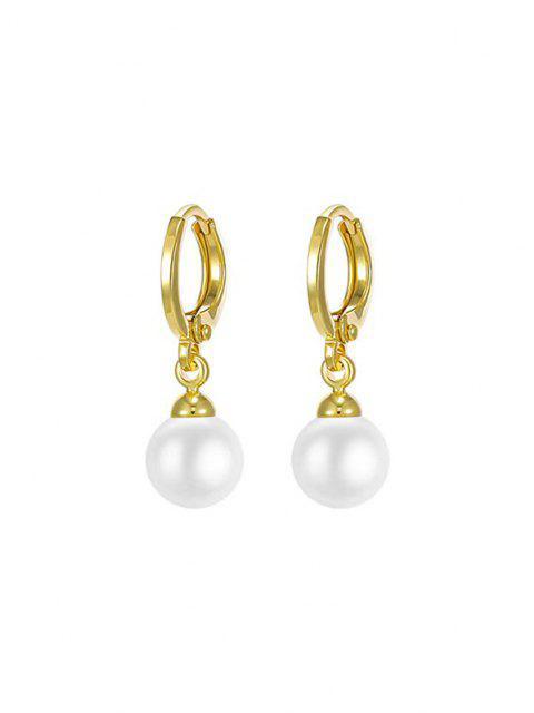 unique Golden Hoop Faux Pearl Pendant Drop Earrings - GOLDEN  Mobile