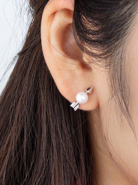 フェイクパール装飾矢印の形スタッドイヤリング - 銀  Mobile