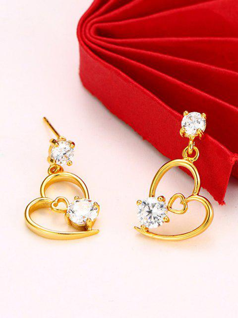 affordable Hollow Out Heart Rhinestone Inlaid Stud Earrings - GOLDEN  Mobile