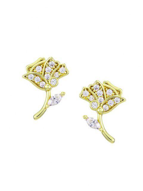 womens Floral Zircon Inlay Stud Earrings - GOLDEN  Mobile