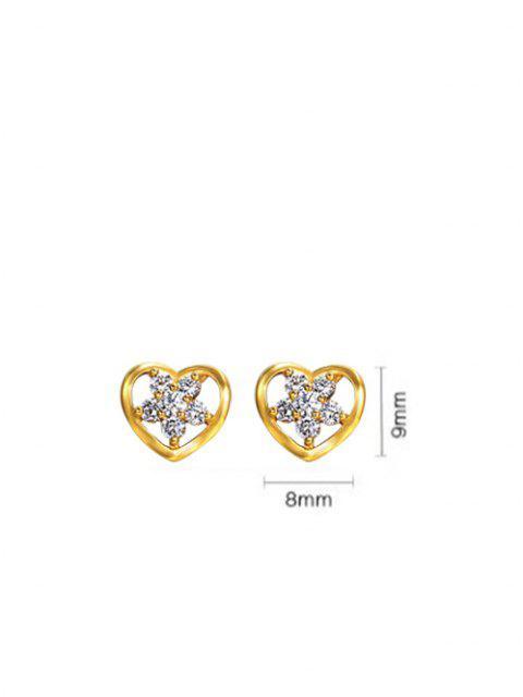 women Heart-Shaped Hollow Out Zircon Flower Inlaid Stud Earrings - GOLDEN  Mobile