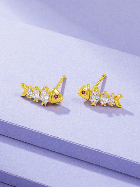 women's Fish Bone Shape Zircon Inlaid Plated Stud Earrings - GOLDEN  Mobile