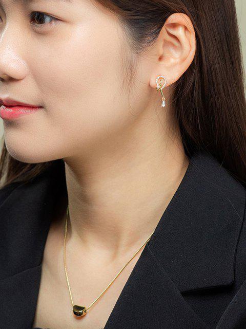 lady Loop Shape Zircon Inlaid Stud Drop Earrings - GOLDEN  Mobile