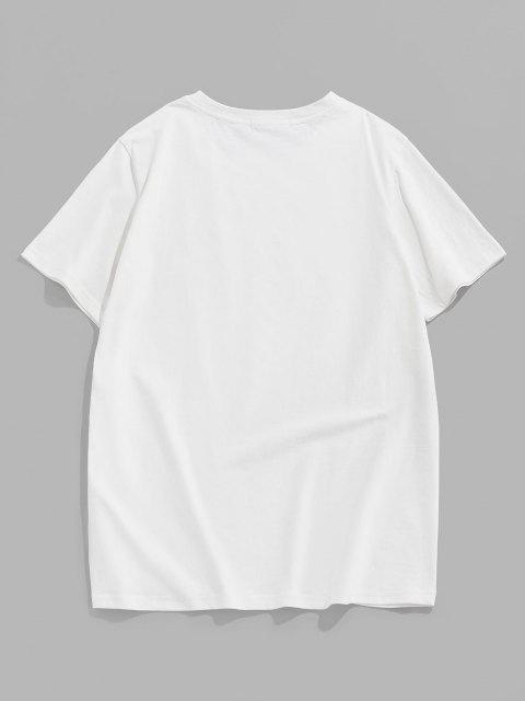 ZAFUL Camiseta con Estampado de Dibujo Animado - Blanco M Mobile