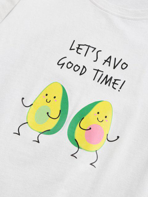 chic ZAFUL Cartoon Avocado Print Graphic T-shirt - WHITE M Mobile