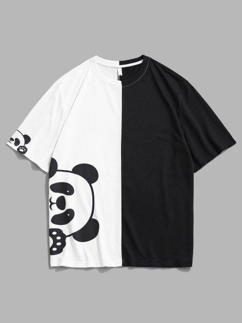 Panda Print Two Tone Short Sleeve Tee - أبيض S Mobile