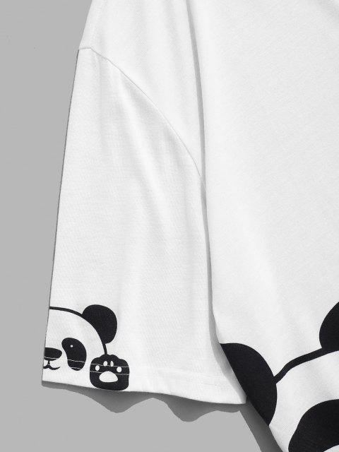 Maglietta con Stampa a Panda Bicolore con Maniche Corte - Bianca XL Mobile