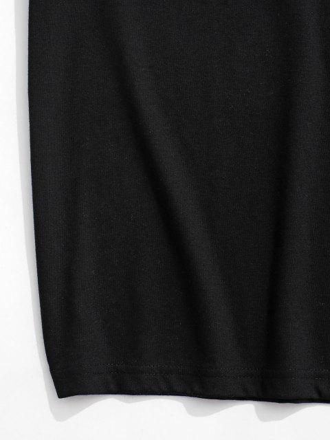 T-Shirt a Maniche Corte con Stampa di Nave e Astronauta - Nero XL Mobile