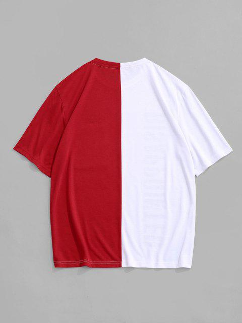 Two Tone Disappointed Short Sleeve T-shirt - أحمر M Mobile