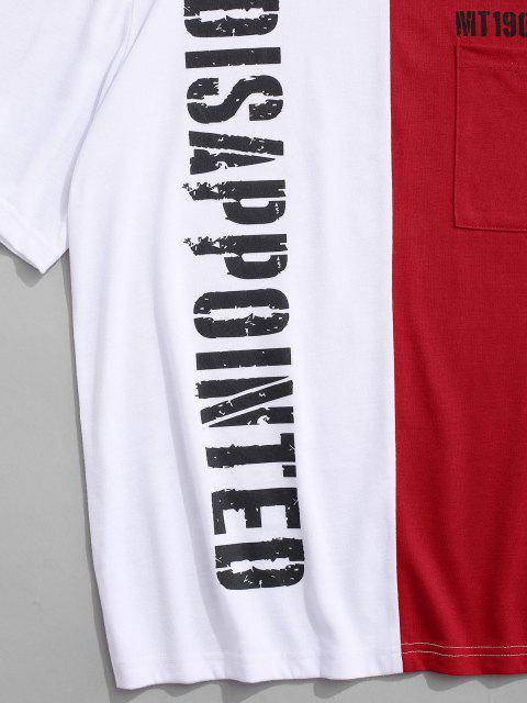 T-Shirt Asimmetrica in Tinta Unita con Maniche Corte - Rosso M Mobile