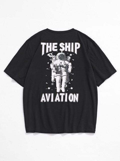T-Shirt a Maniche Corte con Stampa di Nave e Astronauta - Nero L Mobile